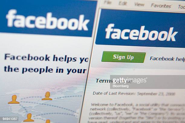 The Facebook terms of use are displayed on a computer monitor in New York US on Wednesday Feb 18 2009 Facebook Inc owner of the world's largest...