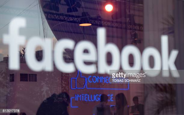 The 'Facebook'logo is pictured on the sidelines of a press preview of the socalled 'Facebook Innovation Hub' in Berlin on February 24 2016 / AFP /...