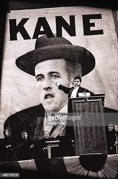 The faces of Harry Kane of Spurs and manager Mauricio Pochettino feature in an image from the film 'Citizen Kane' on a tshirt displayed for sale...