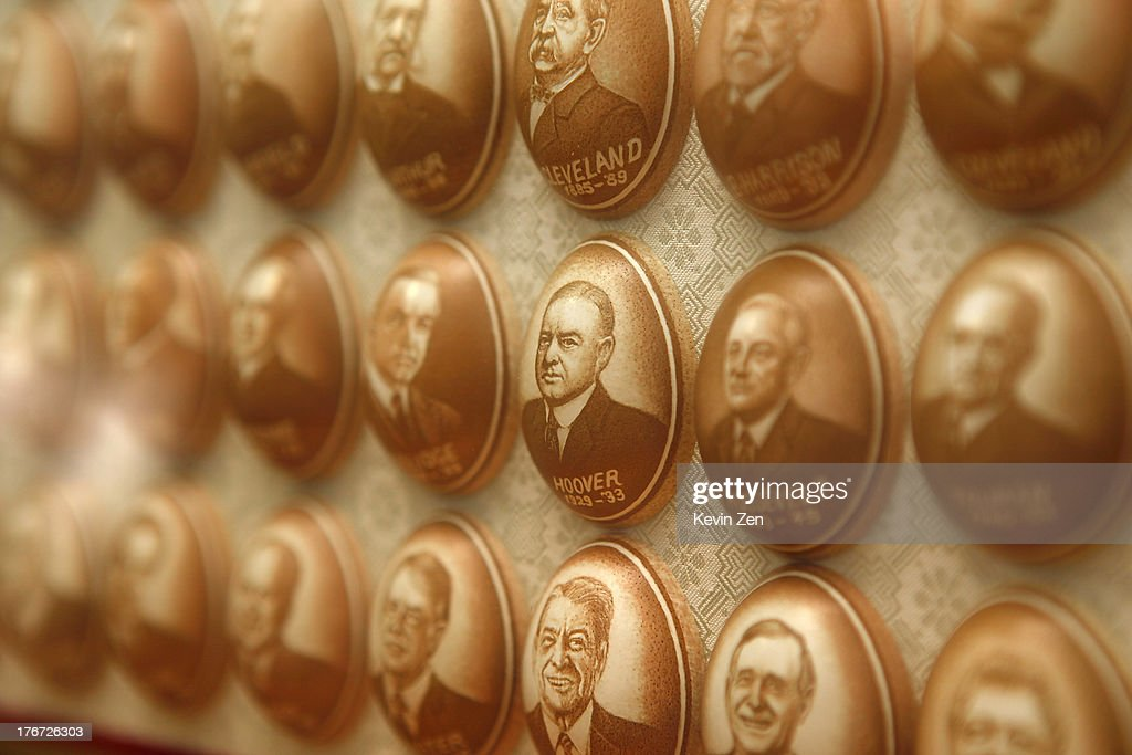 The faces of US Presidents are seen on eggs carved by Pu Derong on July 1, 2013 in Zhuozhou, Hebei Provience, China. Egg carving, an art form originated in the Ming and Qing Dynasties has grown in popularity recently. Pu Derong, from Zhuozhou City, Hebei Province has carved eggs since 1995, and after becoming recognised for his work he now works for museums to carve for them.