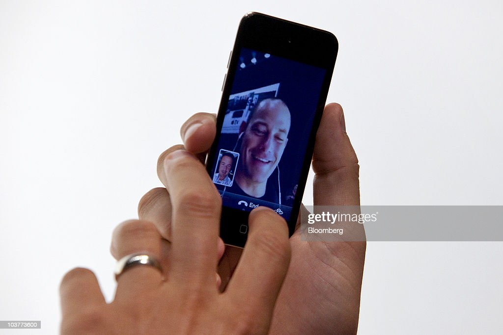The Facetime video application is demonstrated on a new Apple Inc. iPod Touch during an Apple product unveiling event in San Francisco, California, U.S., on Wednesday, Sept. 1, 2010. Apple, building on its dominance in the music industry, introduced new iPods, added a social networking feature to its iTunes software, and unveiled a new Apple TV set-top box that offers television and movie rentals. Photographer: David Paul Morris/Bloomberg via Getty Images