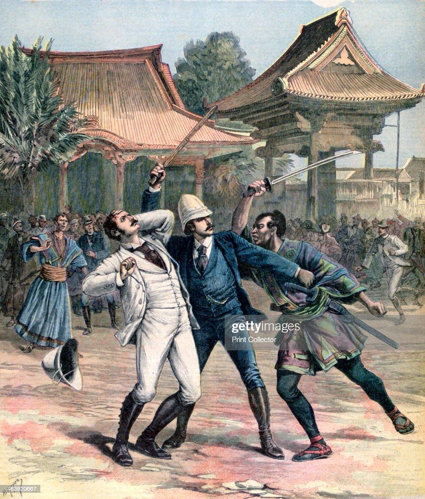 Failed assassination of Tsarevich Nicholas of Russia, Otsu, Japan, 1891. Artist: Henri Meyer