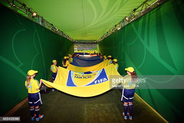 The Fair Play and FIFA flag are pictured before the FIFA U20 Women's World Cup 2014 group D match between New Zealand and France at Olympic Stadium...