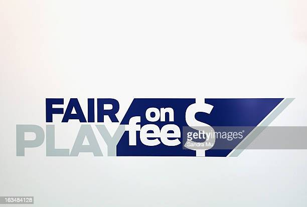 The Fair Play on Fee's logo is displayed during a press conference announcing the class suit to reclaim bank fees on March 11 2013 in Auckland New...