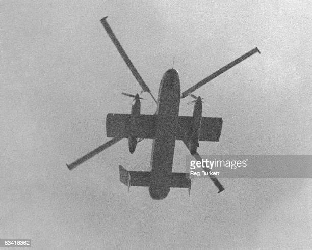 The Fairey Rotodyne prototype XE521 during its first flying demonstration for the press at White Waltham Berkshire 3rd June 1958 A compound gyroplane...