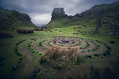 The Fairy Glen, near Uig (Walkhighlands), Isle of Skye, Scotland, UK. A bizarre and delightful miniature landscape of grassy, cone-shaped hills on the Isle of Skye.
