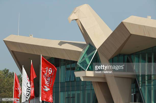 The Falcon Clubhouse during the third round of the Abu Dhabi HSBC Championship at Abu Dhabi Golf Club on January 21 2017 in Abu Dhabi United Arab...