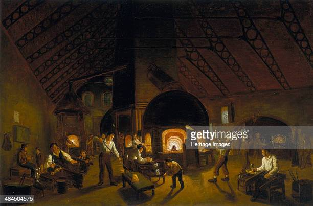 'The Falcon Glassworks' c1840 This is the earliest known detailed view of the interior of a London glasshouse The glassblowers are making claret jugs...