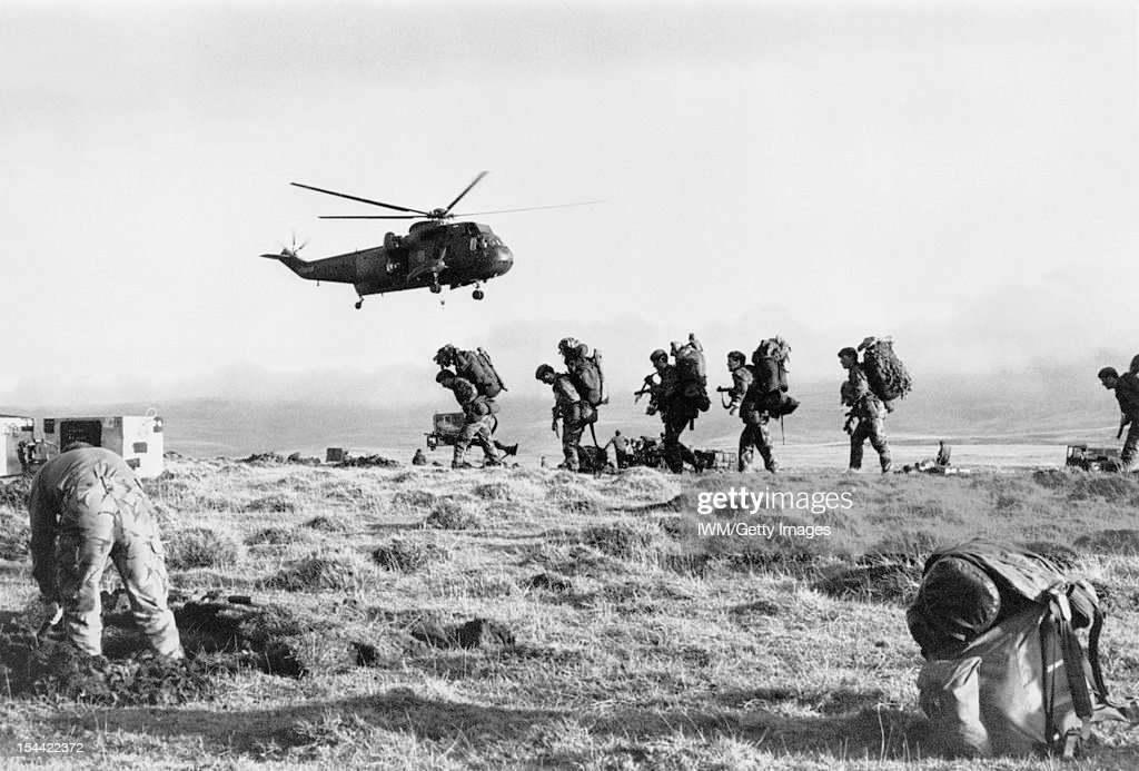 The Falklands Conflict, April - June 1982, A Royal Navy Westland Sea King HC.4 of 825 Naval Air Squadron takes off after transporting J Company, 42 Commando, Royal Marines from Port San Carlos to Darwin, June 1982.