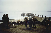 The Falklands Conflict April June 1982 Landings at San Carlos British troops of 5 Infantry Brigade come ashore at a jetty on 2 June 1982