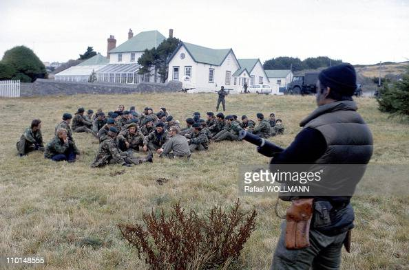 The Falklands War in Port Stanley GrandeBretagne in April 1982 British Prisoners Soldiers In front of the Governor's Residency