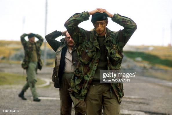 The Falklands War in Port Stanley GrandeBretagne in April 1982 British Soldiers Surrender to Argentinian Soldiers
