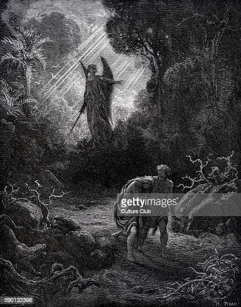 The fall / Expulsion of Adam and Eve from Paradise the Garden of Eden illustration by Gustave DorŽ