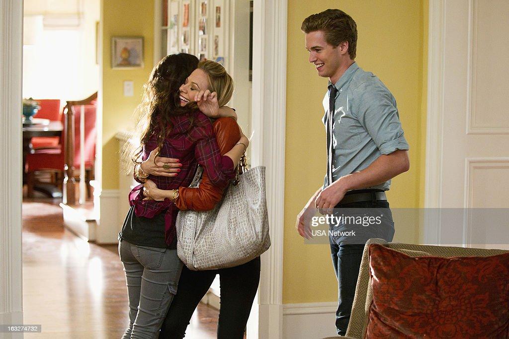 ROUGHNESS -- 'The Fall Guy' Episode 214 -- Pictured: (l-r) Hannah Marks as Lindsay Santino, Tamara Braun as Ronnie Santino, Patrick Johnson as Ray Santino Jr. --