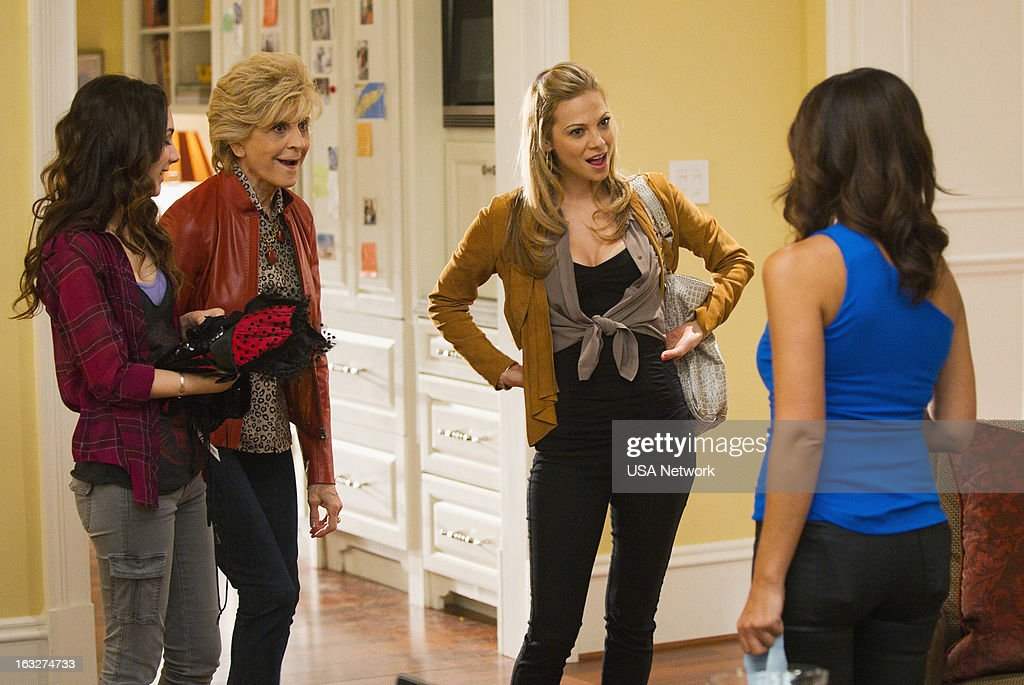 ROUGHNESS -- 'The Fall Guy' Episode 214 -- Pictured: (l-r) Hannah Marks as Lindsay Santino, Concetta Tomei as Angela, Tamara Braun as Ronnie Santino, Callie Thorne as Dr. Dani Santino --