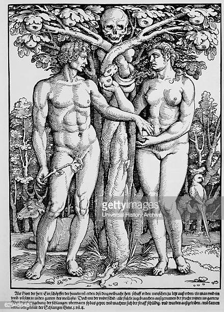 The Fall of Adam and Eve Woodcut Hans Sebald Beham 1535
