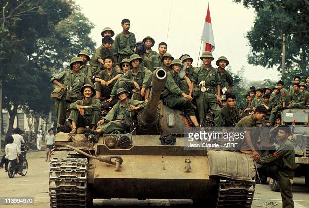 The Fall of Ho Chi Minh Vietnam in April 1975In front of Presidential Palace gate