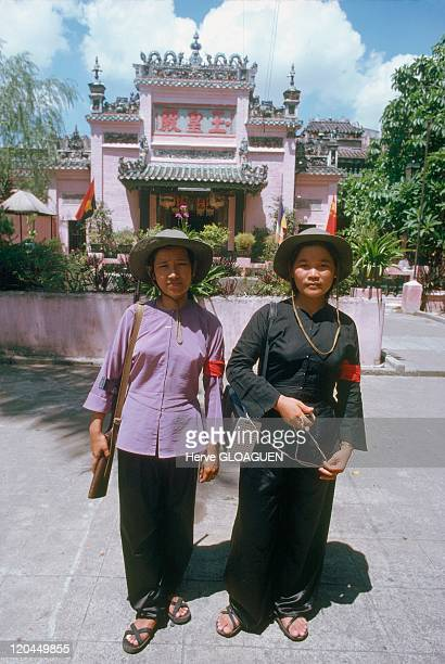 The Fall of Saigon in Vietnam in May 1975 Pagoda of Dakao combatants carrying the behaviour of the men of the maquis of the Vietnamese southern GRP