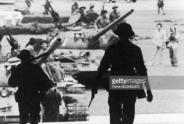 The Fall of Saigon in Vietnam on April 30 1975 The arrival of North Vietnamese troops at Doc Lap Palace in Saigon Here some T56 tanks