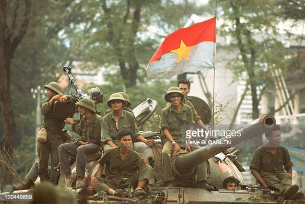 The Fall of Saigon in Vietnam on April 30 1975 The northVietnamese tanks surround the Doc Lap Palace