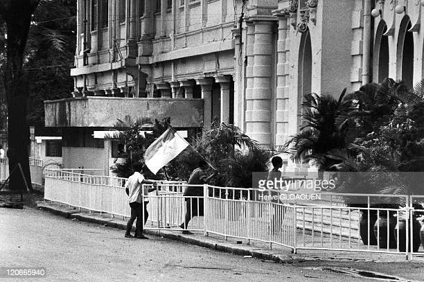 The Fall of Saigon in Vietnam on April 30 1975 The Town Hall being taken by GRP members and students