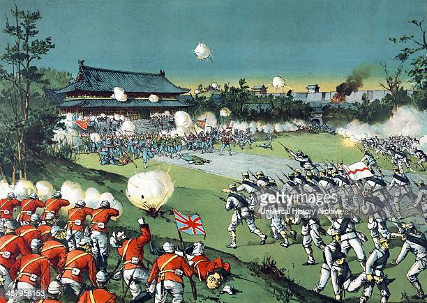 The fall of the Pekin castle the hostile army being beaten away from the imperial castle by the allied armies by Torajiro Kasai artist 1900 Print...