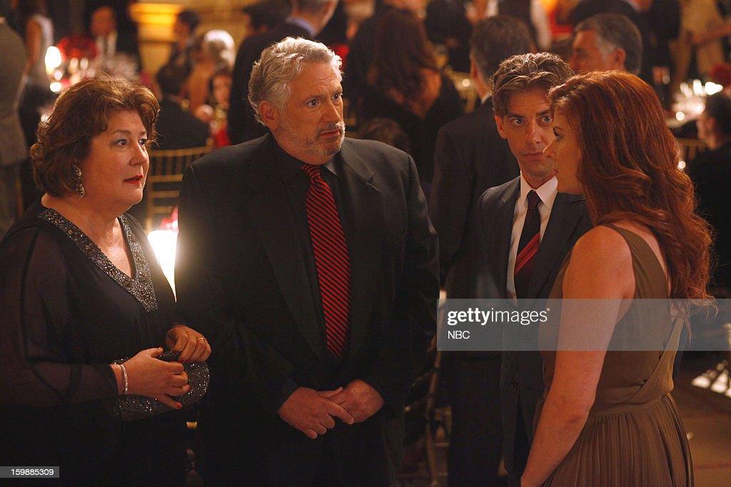 SMASH -- 'The Fallout' Episode 202 -- Pictured: (l-r) Margo Martindale as Miriam Abramson, Harvey Fierstein as Harvey Fierstein, Christian Borle as Tom Levitt, Debra Messing as Julia Houston --