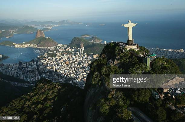The famed Christ the Redeemer statue stands atop Corcovado mountain in an aerial view on February 24 2014 in Rio de Janeiro Brazil Rio marks its...