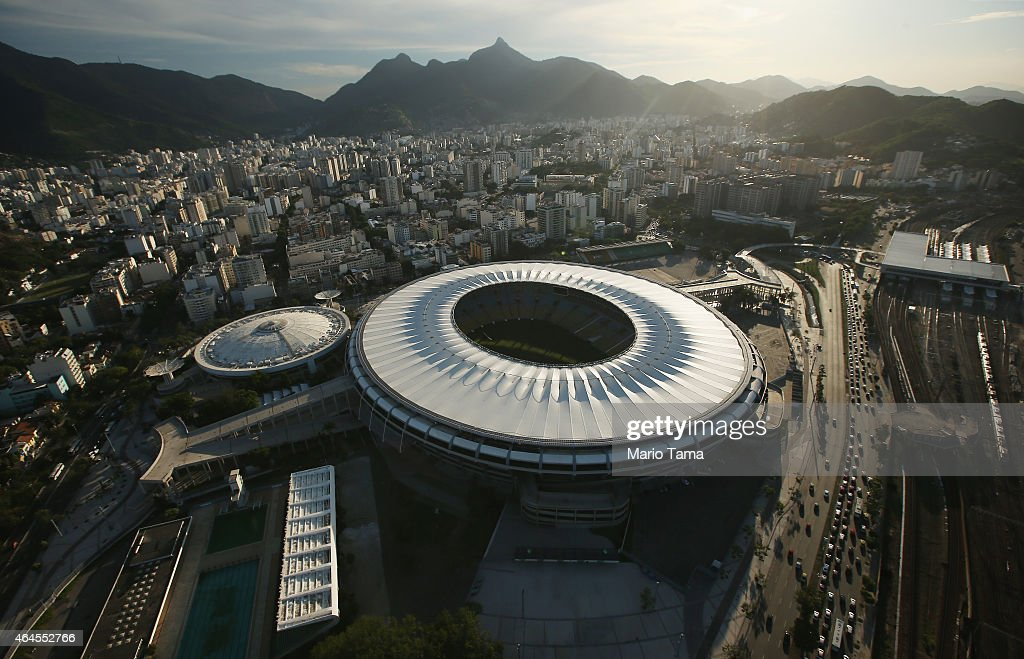 The famed Maracana Stadium opened in 1950 is seen in an aerial view on February 24 2015 in Rio de Janeiro Brazil Rio marks its 450th anniversary on...