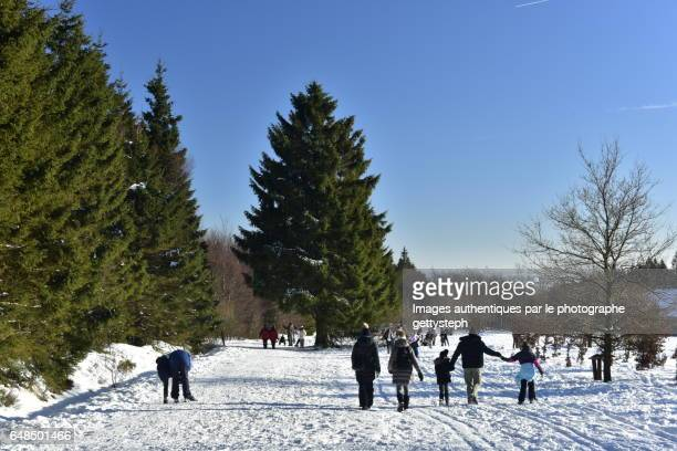 The families walking on snow