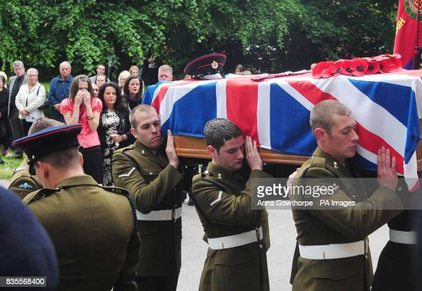 The family and friends of the killed British soldier Sapper Jordan Rossi follow his coffin during the funeral held at Saltaire United Reform Church...