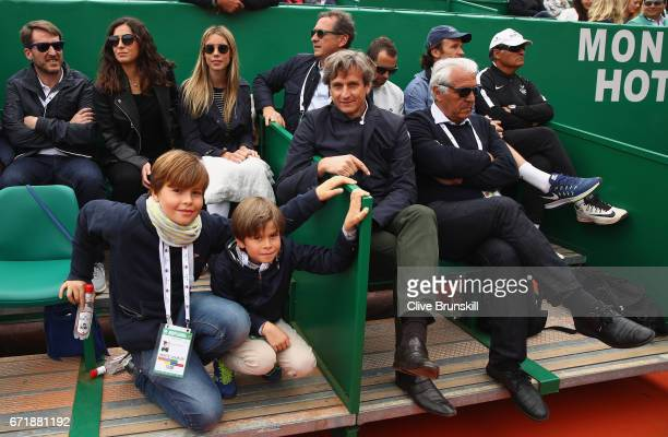 The family box of Rafael Nadal of Spain as they watch him play against Albert RamosVinolas of Spain in the final on day eight of the Monte Carlo...