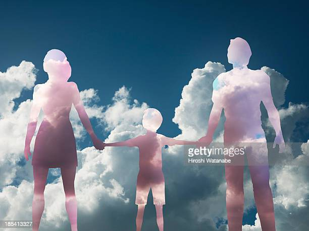 The family made of clouds in the sky