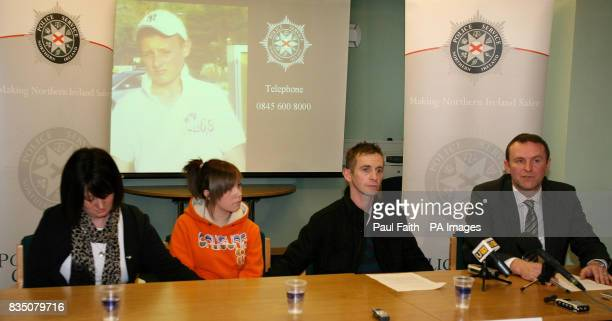 The family of 14yearold murder victim Ryan Quinn at a police press conference in Colerain Co Londonderry Mother Lisa Kinnaird Sister Zara Quinn and...