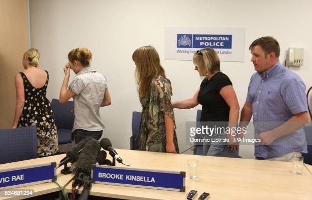 The family of Ben Kinsella Brooke Kinsella with her sisters Georgia and Jade and parents Deborah and George at a press conference in Barking Essex