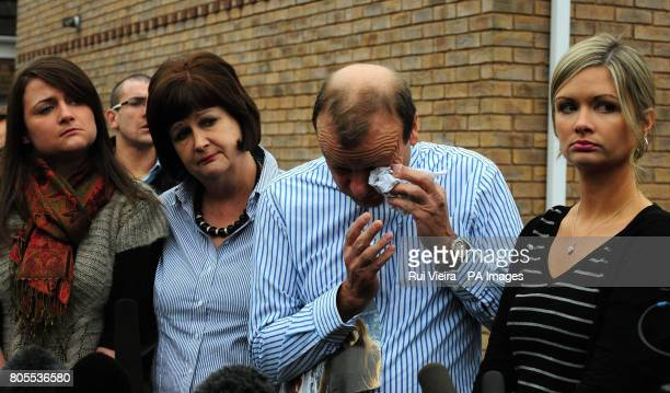 The family of British teacher Lindsay Ann Hawker who was murdered in Japan sister Louise mother Julia father Bill and sister Lisa speak to the media...