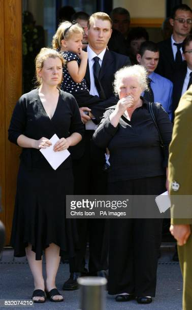 The family of Cpl John Johnston Cosby leave Belmont Chapel in Exeter after his funeral They included from left to right his sister Violet niece Chloe...
