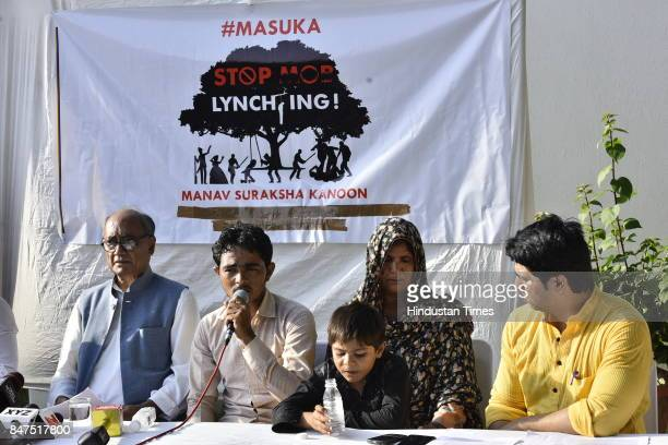 The family of dairy farmer Pehlu Khan who was lynched by a mob in Alwar in April at a press conference with Congress leader Digvijaya Singh at Lodhi...