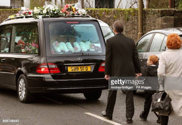 The family of former X Factor finalist Kerry McGregor including her seven year old son Joshua and partner Dean Robertson as they follow her coffin...