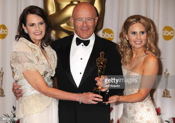 The family of Heath Ledger mother Sally Ledger father Kim Ledger and sister Kate Ledger poses in the 81st Annual Academy Awards press room held at...