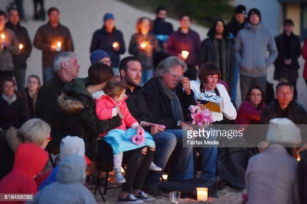 The family of Justine Damond her brother Jason Ruszczyk and parents John Ruszczyk and Maryan Heffernan are seen during a vigil for their daughter at...