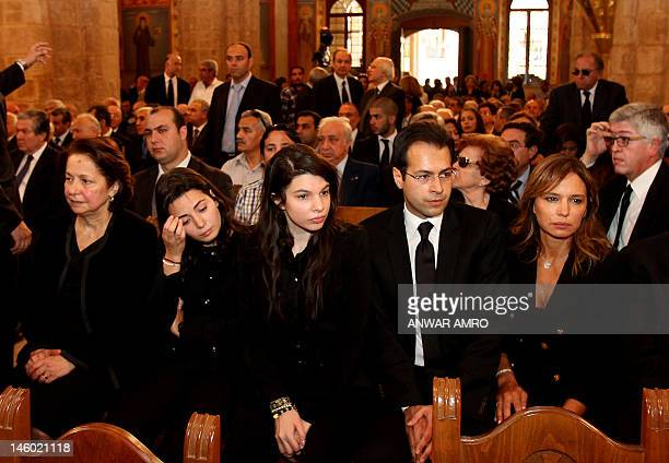 The family of Lebanese journalist and politician Ghassan Tueni his widow Shadia his granddaughters Nayla and Michelle Nayla's husband Malek Maktabi...