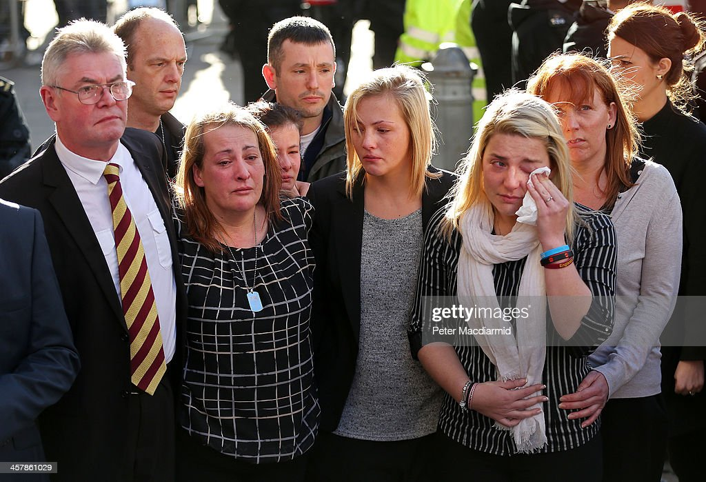 The family of Lee Rigby (L-R) stepfather Ian Rigby, mother Lyn Rigby, sister Sara McClure and fiancee Aimee West talk to reporters at the Old Bailey on December 19, 2013 in London, England. Michael Adebolajo and Michael Adebowale have been found guilty of murdering Fusilier Lee Rigby as he walked back to Woolwich Barracks in south-east London on May 22, 2013.