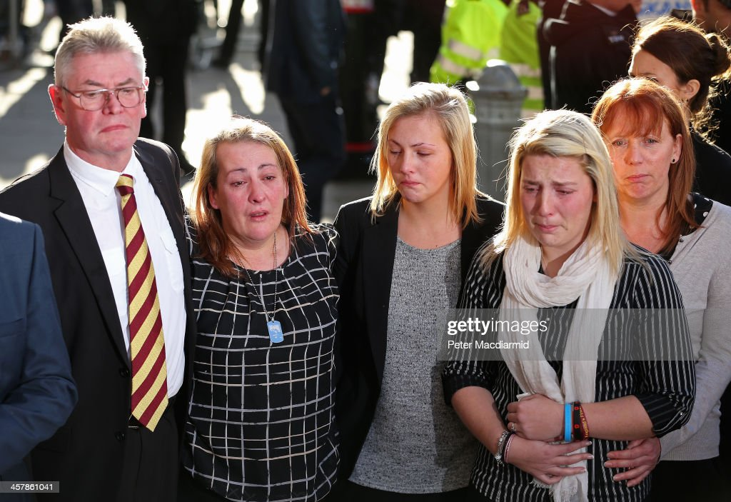 The family of Lee Rigby stepfather Ian Rigby mother Lyn Rigby sister Sara McClure and fiancee Aimee West talk to reporters at the Old Bailey on...