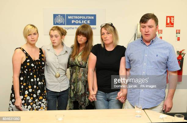 The family of murdered Ben Kinsella Brooke Kinsella with her sisters Georgia and Jade and parents Deborah and George at a press conference in Barking...