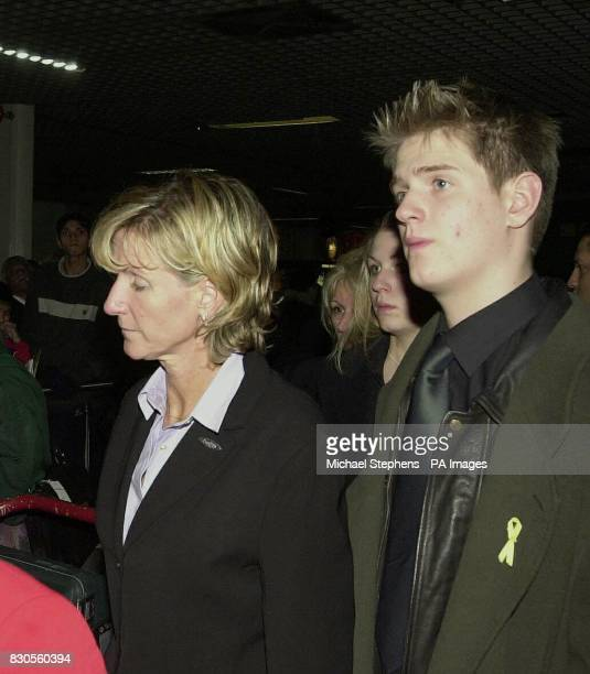 The family of murdered hostess Lucie Blackman mother Jane sister Sophie and brother Rupert arrive at Heathrow Airport in London after they brought...