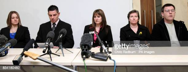 The Family of murdered prostitute Paula Clennell L/R Alice Bradshaw [sister] and her husband Craig Bradshaw reading statement Suffolk Police FLO Sam...