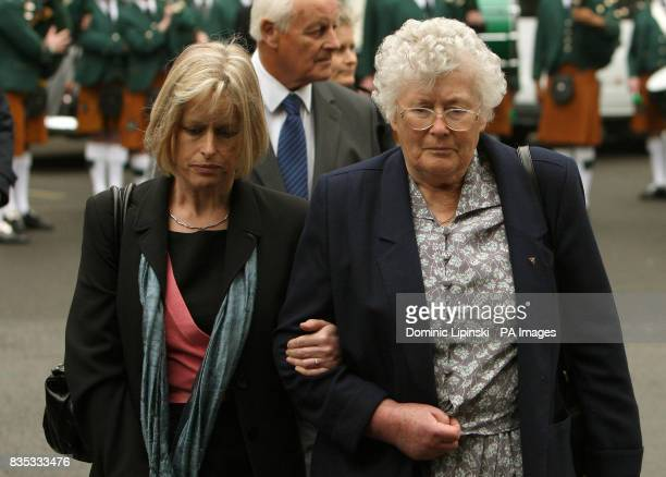 The family of PC Yvonne Fletcher sister Sarah Parsons and parents Tim and mother Queenie Fletcher at a memorial service in St James's Square London...