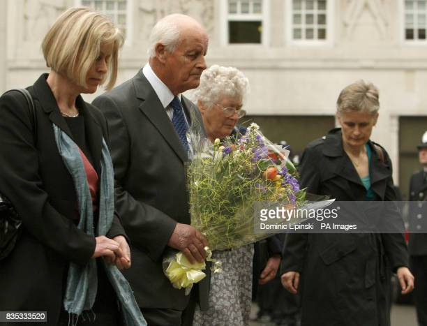 The family of Pc Yvonne Fletcher sister Sarah Parsons parents Tim and Queenie Fletcher sister Heather Allbrook lay flowers at a memorial service in...