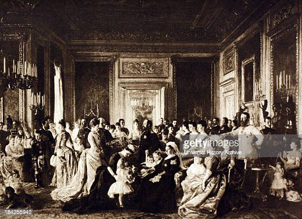The Family of Queen Victoria 1887 by Laurits Regner Tuxen Engraving showing Queen Victoria and her huge extended family